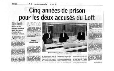 5 années de prison pour les deux accusés du Loft